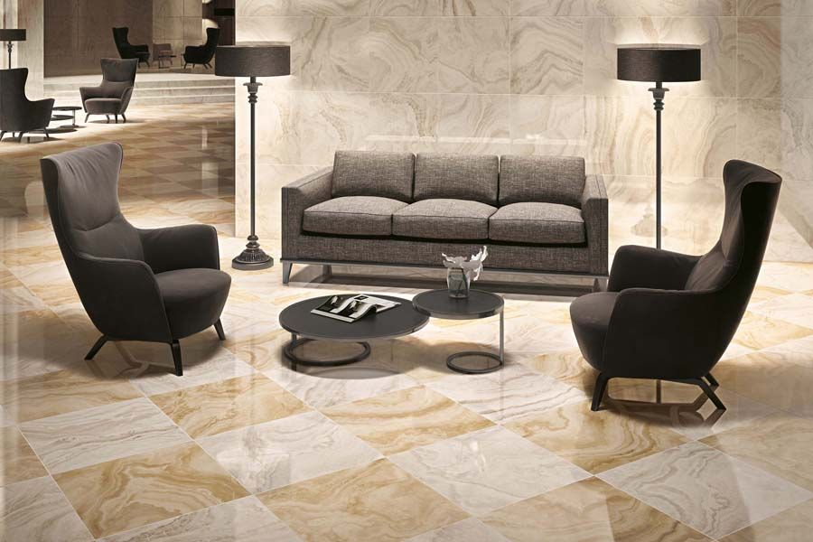 Плитка Atlas Concorde Supernova Onyx Floor Honey Amber Mosaic Lap в интерьере